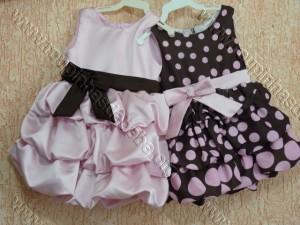 vestido marrom com rosa infantil balone