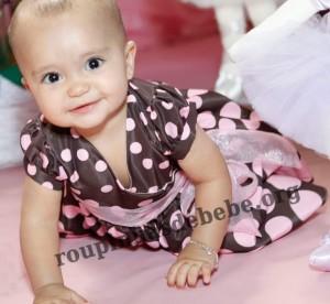 vestido marrom com rosa festa 1 ano infantil