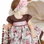 vestidos infantil floral marrom