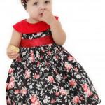 vestidos infantil floral vermelho