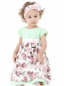 vestido infantil floral verde com floral