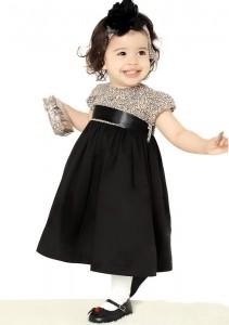 vestido infantil de festa elegante oncinha com preto