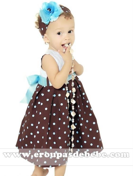 vestido infantil azul e marrom