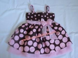 vestido marrom com rosa de alcinha