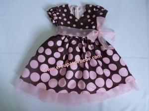 Vestido infantil rosa e marrom