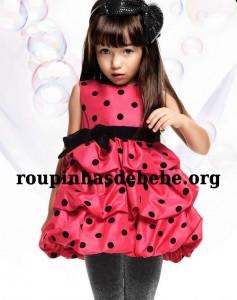vestido de bebe vermelho poa