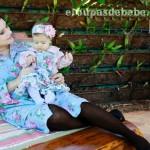 roupas mae e filha azul