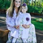 roupas mae e filha floral azul