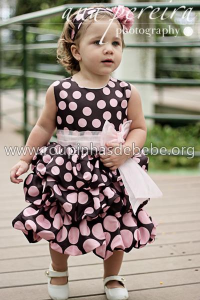 Vestidos rosa com marrom para criança