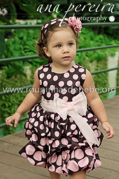 vestido para festa infantil marrom e rosa