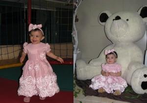 festa marrom e rosa vestido com rosas aplicadas