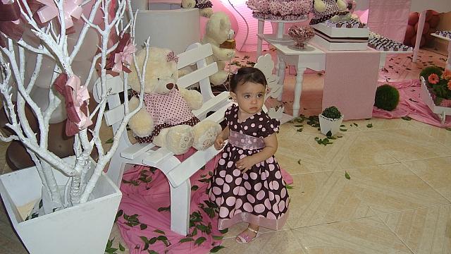 festa rosa e marrom infantil ursos