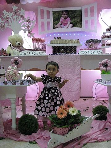 marrom e rosa provencal festa infantil