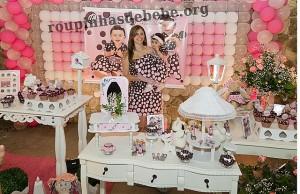 moda mae e filha festa infantil rosa e marrom 1 ano