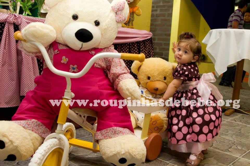 vestido infantil marrom e rosa para festa