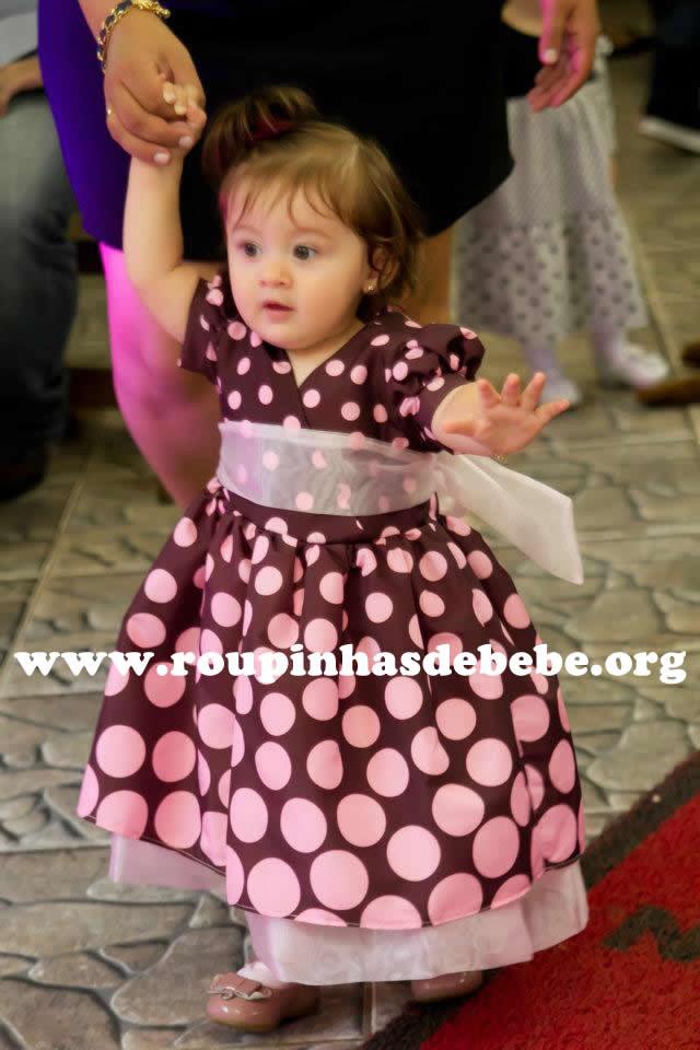 vestido rosa e marrom infantil