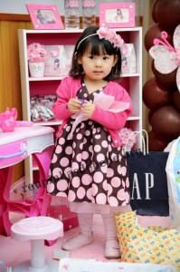 festa infantil marrom e rosa 1 ano