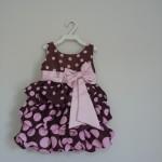 vestido balone marrom e rosa