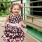 vestido de festa marrom e rosa infantil