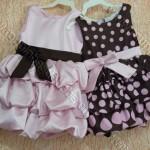 vestido marrom e rosa infantil balone