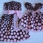 vestido marrom e rosa infantil e adulto