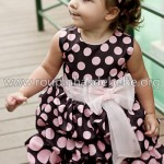 vestidos infantil marrom com bolinha rosa