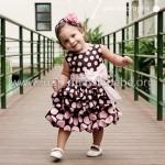 vestidos marrom e rosa infantil