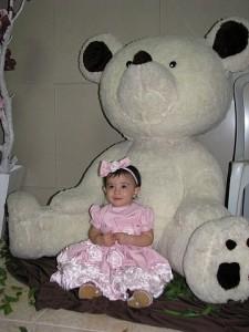 Giovanna vestido rosa bebe e urso