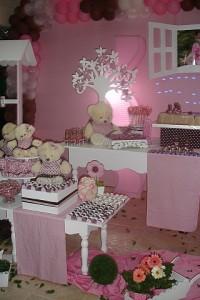 ursinhos - vestido marrom e rosa