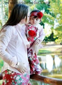 moda floral vermelho mamãe e bebê