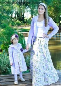 roupas floral mae e bebe