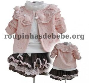 conjunto inverno infantil rosa e marrom