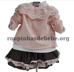 conjunto marrom e rosa inverno infantil
