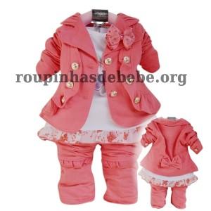 conjunto rosa casaco inverno infantil