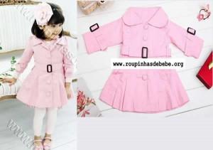 inverno infantil sobretudo rosa