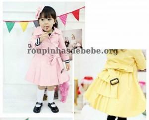inverno infantil sobretudo rosa e amarelo