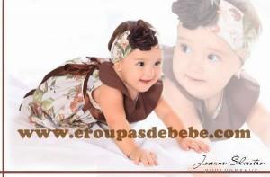 moda infantil vestido marrom floral