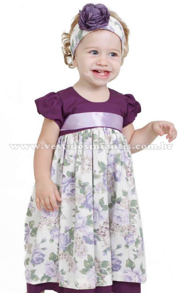 vestido infantil floral lilas