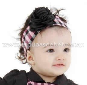 faixa de cabelo xadrez com preto infantil