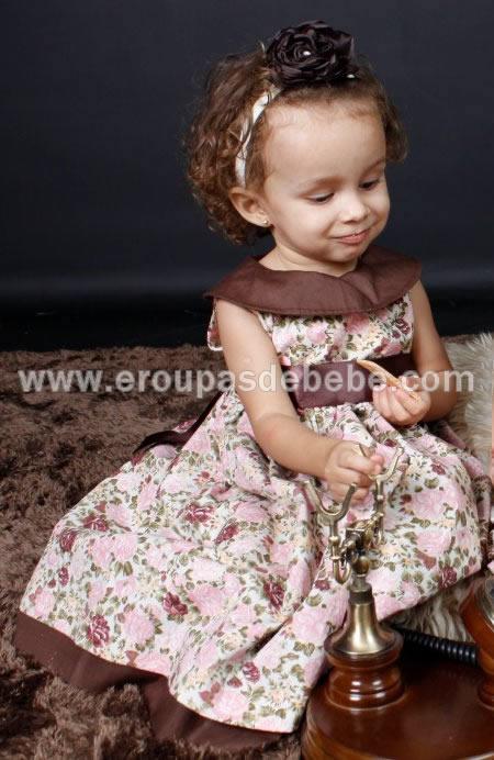 lindo vestido floral marrom infantil