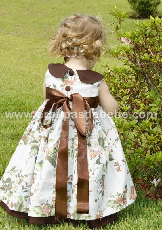 lindo vestido infantil rosa e marrom