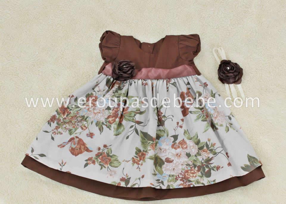 vestido de festa infantil floral marrom com faixinha