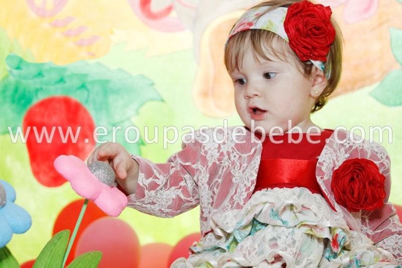 vestido floral renda vermelho infantil