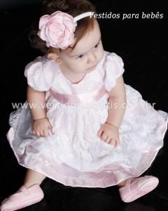 vestido infantil de renda com faixa de cabelo