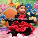vestido poa vermelho com preto