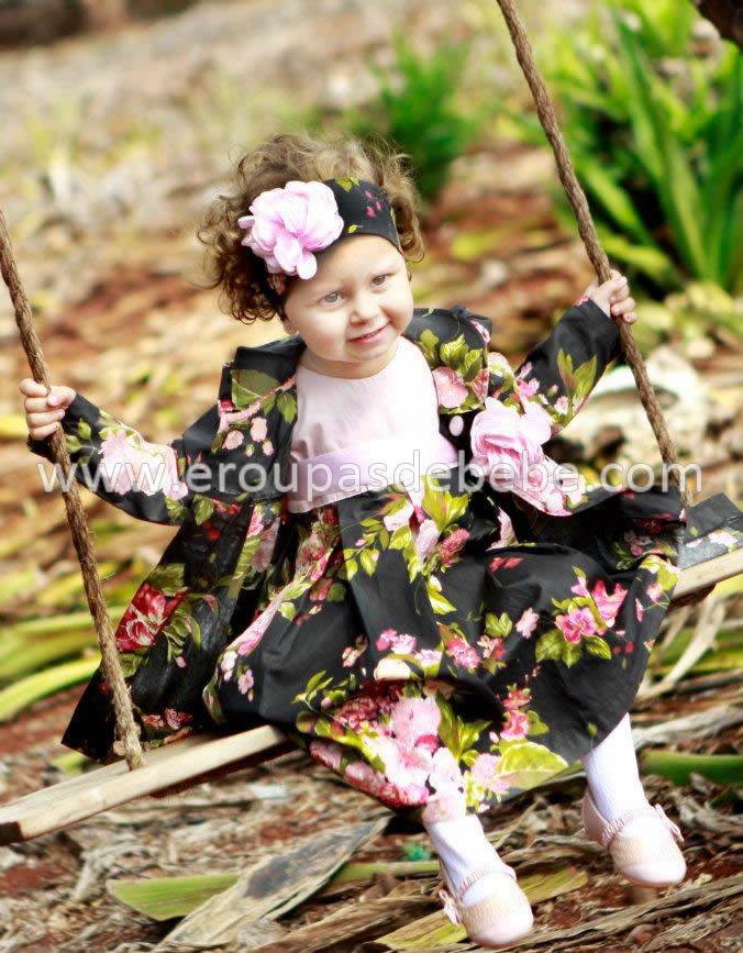 vestidos infantil floral preto