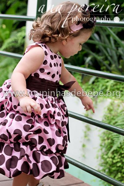 vestido rosa com marrom infantil