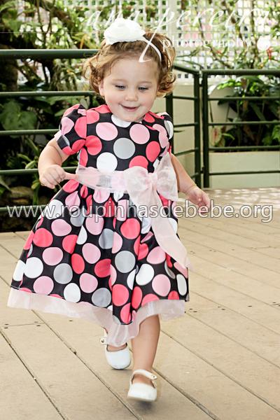 vestido de festa com bolinha infantil