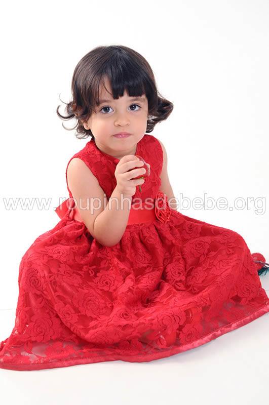 vestido infantil princesa de renda vermelho