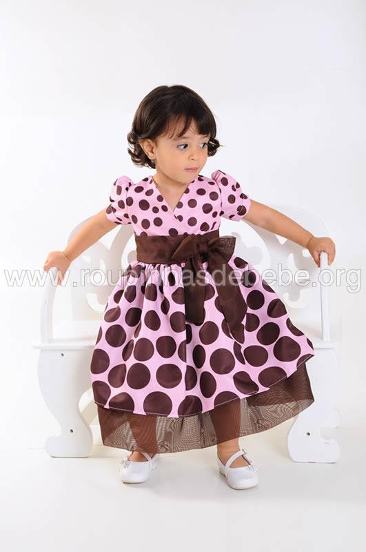 vestido marrom e rosa infantil para festa